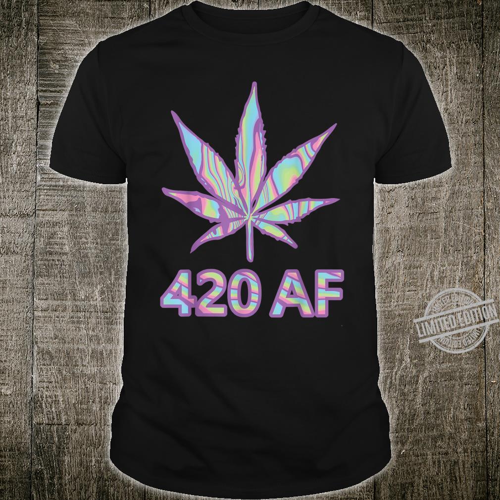 420 AF Marijuana Leaf Retro Vaporware Stoner Weed Pot Shirt