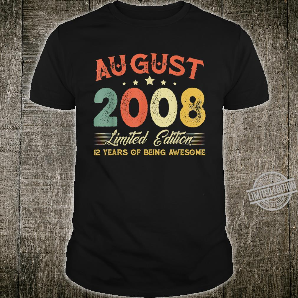 August 2008 12 Years Old Vintage 12th Birthday Shirt