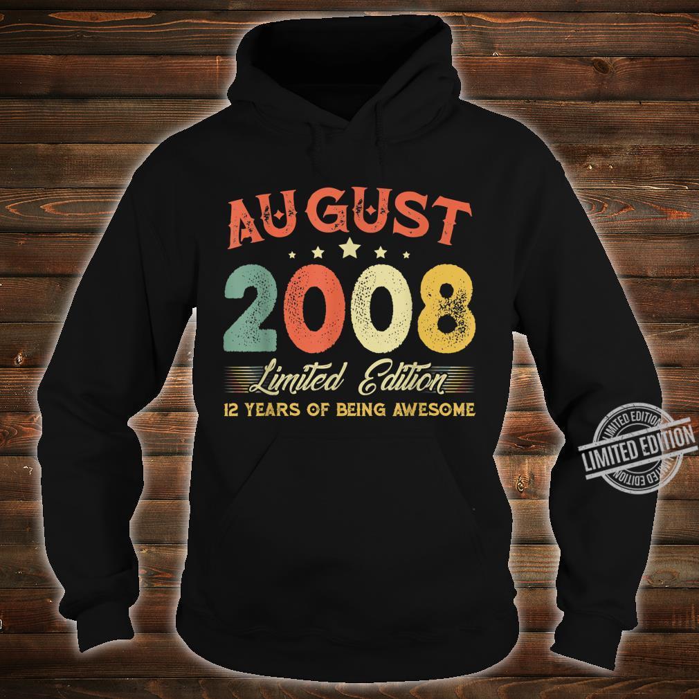 August 2008 12 Years Old Vintage 12th Birthday Shirt hoodie