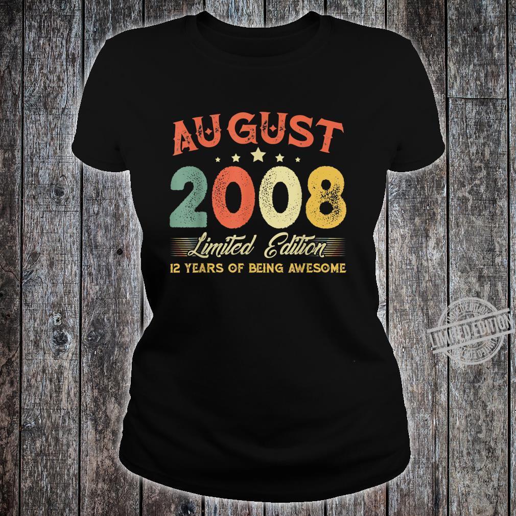 August 2008 12 Years Old Vintage 12th Birthday Shirt ladies tee