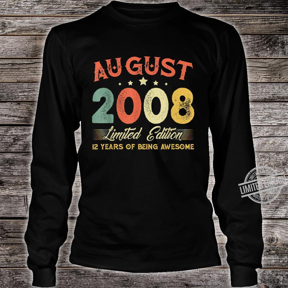 August 2008 12 Years Old Vintage 12th Birthday Shirt long sleeved