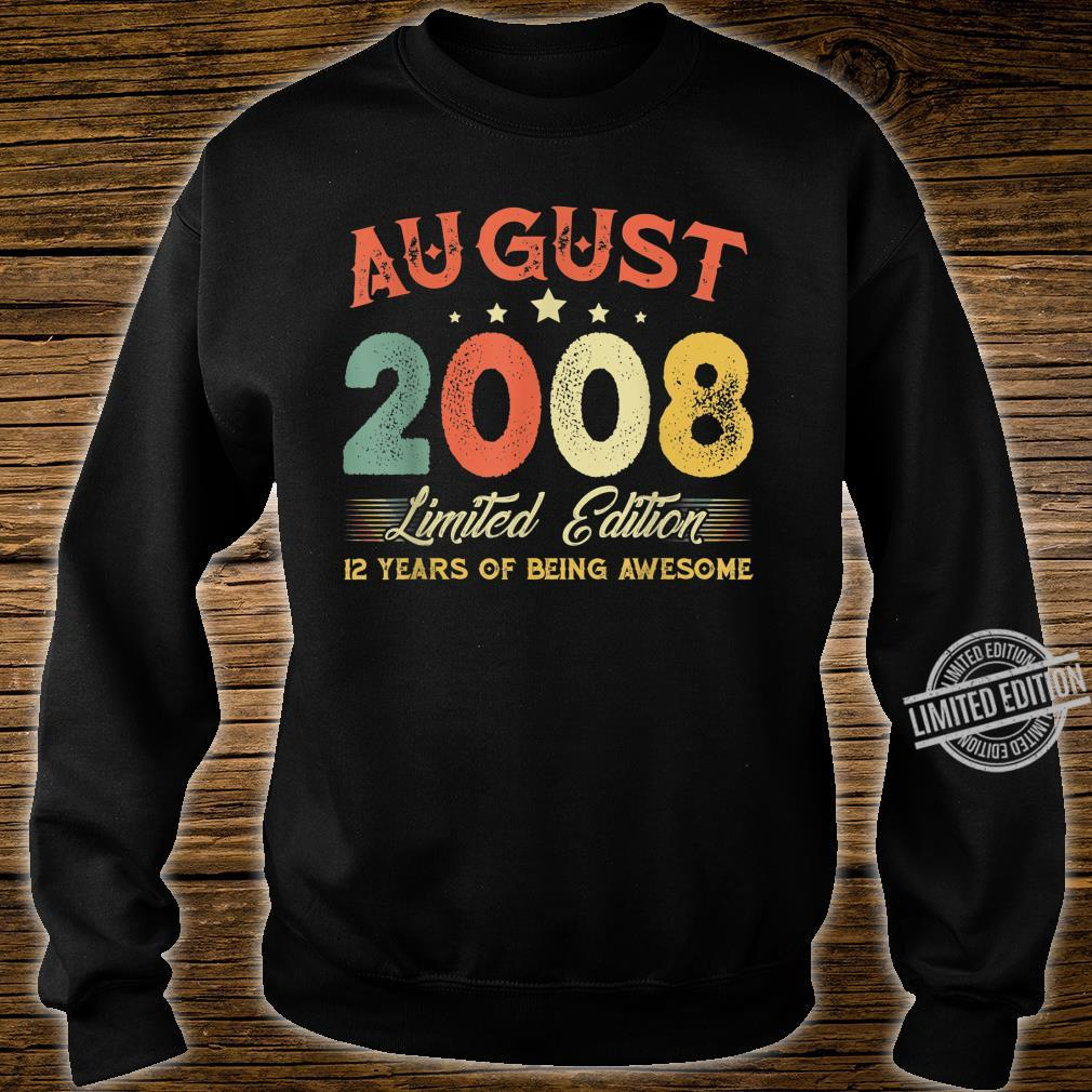 August 2008 12 Years Old Vintage 12th Birthday Shirt sweater