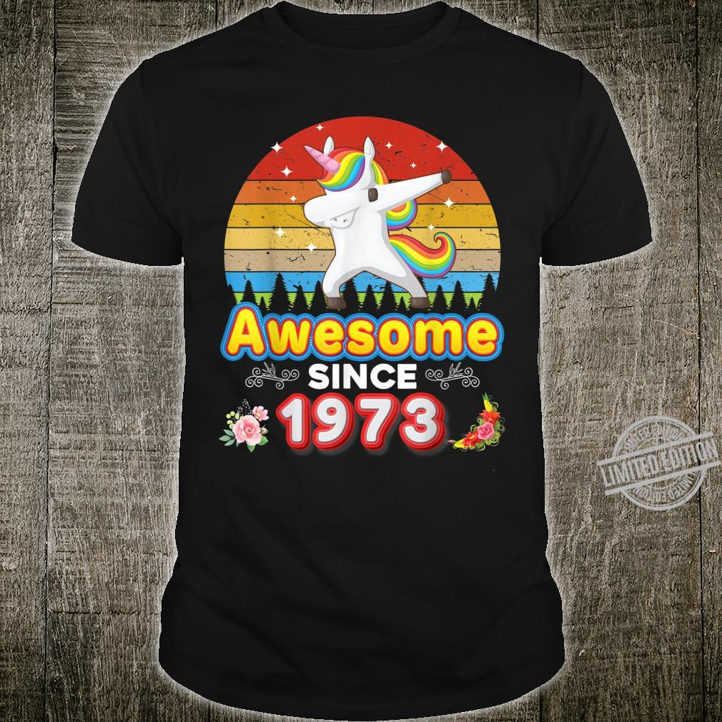 Awesome Since 1973 47th Birthday Dabbing Unicorn Floral Shirt