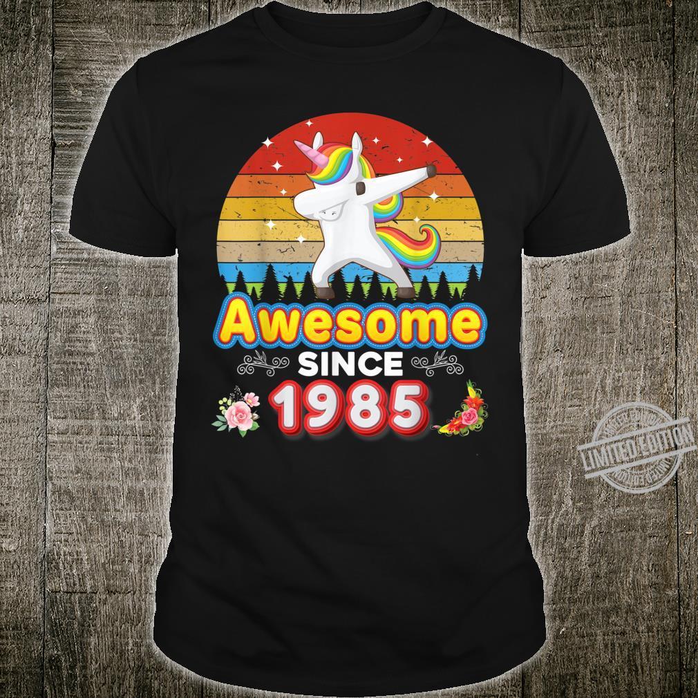 Awesome Since 1985 35th Birthday Dabbing Unicorn Floral Shirt