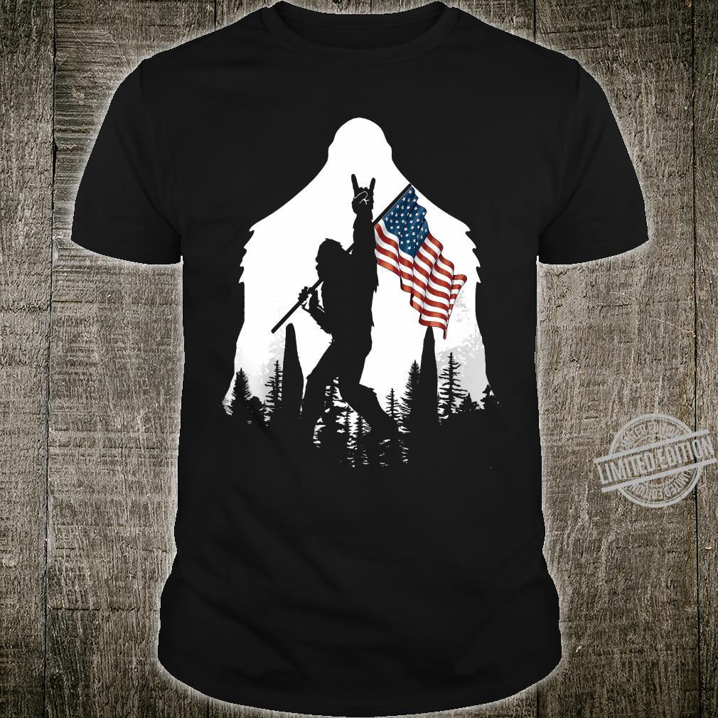 Bigfoot Rock And Roll USA Flag In The Forest Shirt