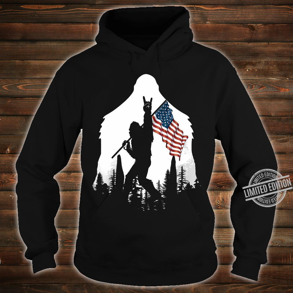 Bigfoot Rock And Roll USA Flag In The Forest Shirt hoodie