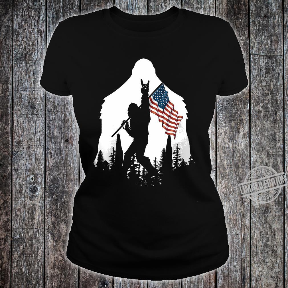 Bigfoot Rock And Roll USA Flag In The Forest Shirt ladies tee