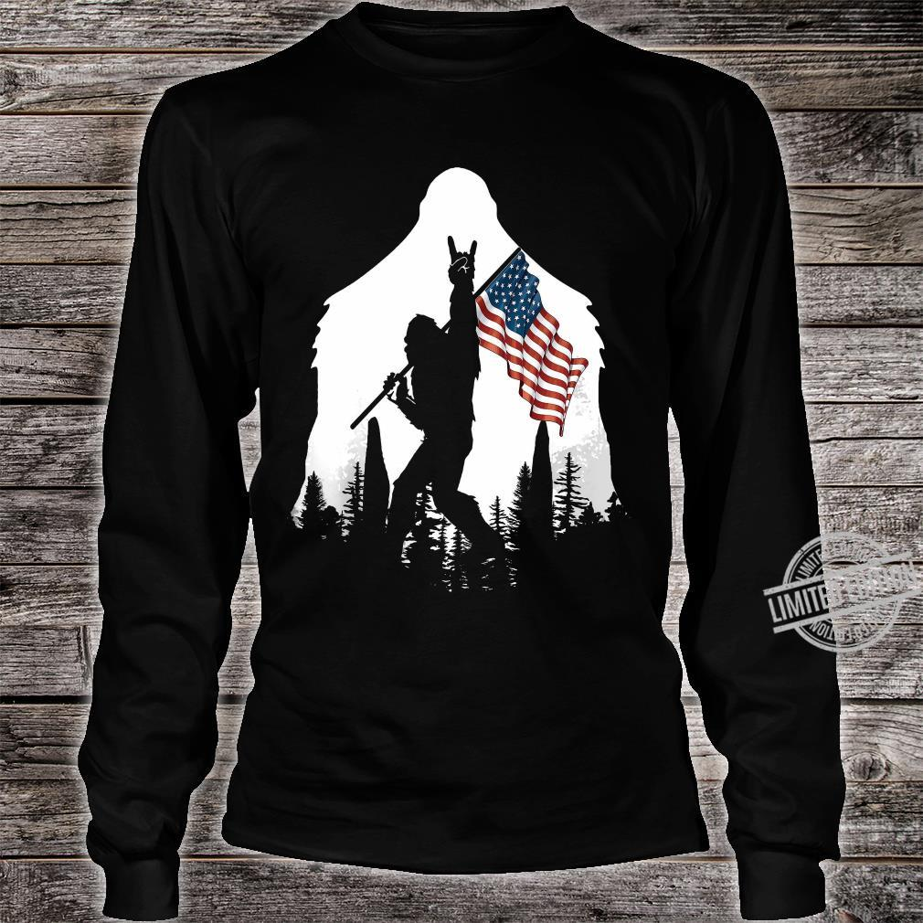 Bigfoot Rock And Roll USA Flag In The Forest Shirt long sleeved