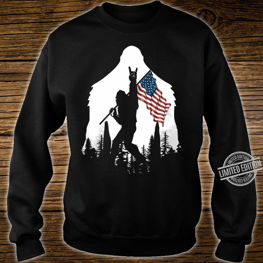 Bigfoot Rock And Roll USA Flag In The Forest Shirt sweater