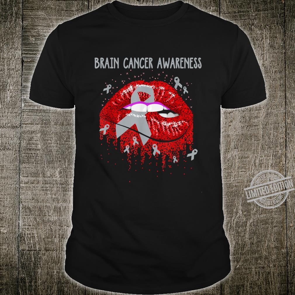 Brain Cancer Awareness Month Lips Support Ribbon I Wear Gray Shirt