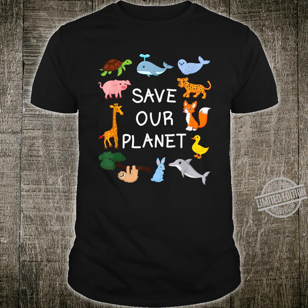 Climate Change with Cute Animals Save Our Planet Shirt