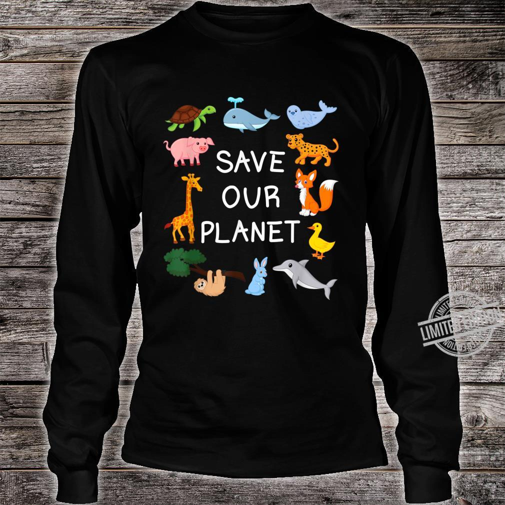 Climate Change with Cute Animals Save Our Planet Shirt long sleeved