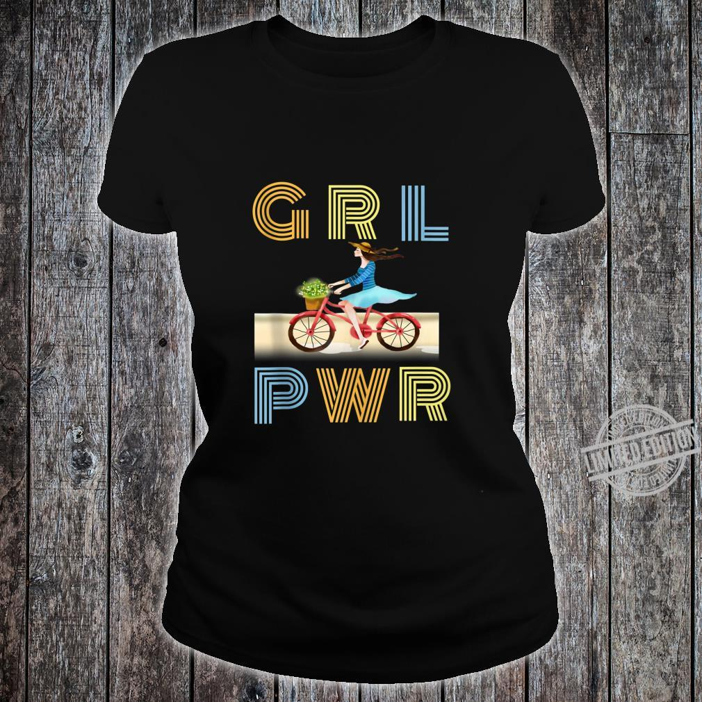 Cute bicycle GRL PWR Girl Power Motivational Quote Shirt ladies tee