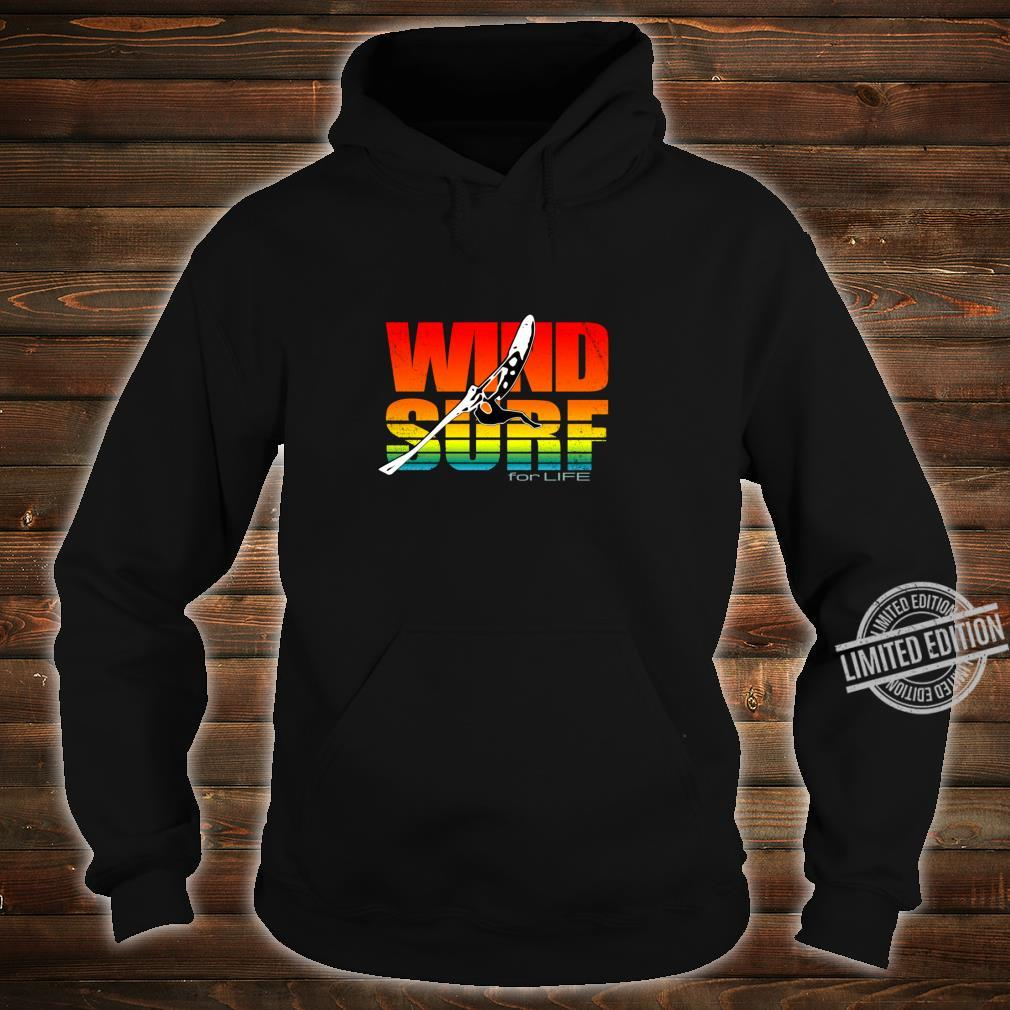 Distressed Art Wind Surf for Life Sunset Jump Vibrant Colors Shirt hoodie