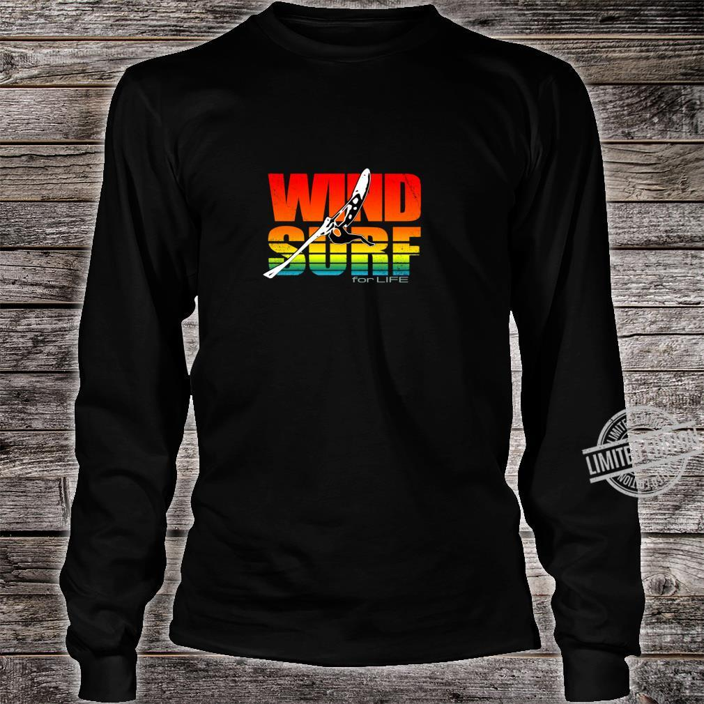 Distressed Art Wind Surf for Life Sunset Jump Vibrant Colors Shirt long sleeved