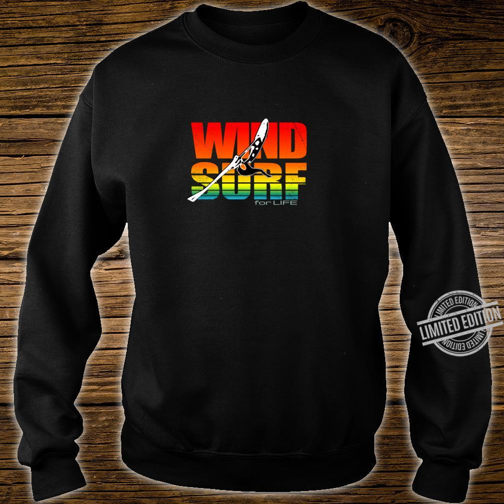 Distressed Art Wind Surf for Life Sunset Jump Vibrant Colors Shirt sweater