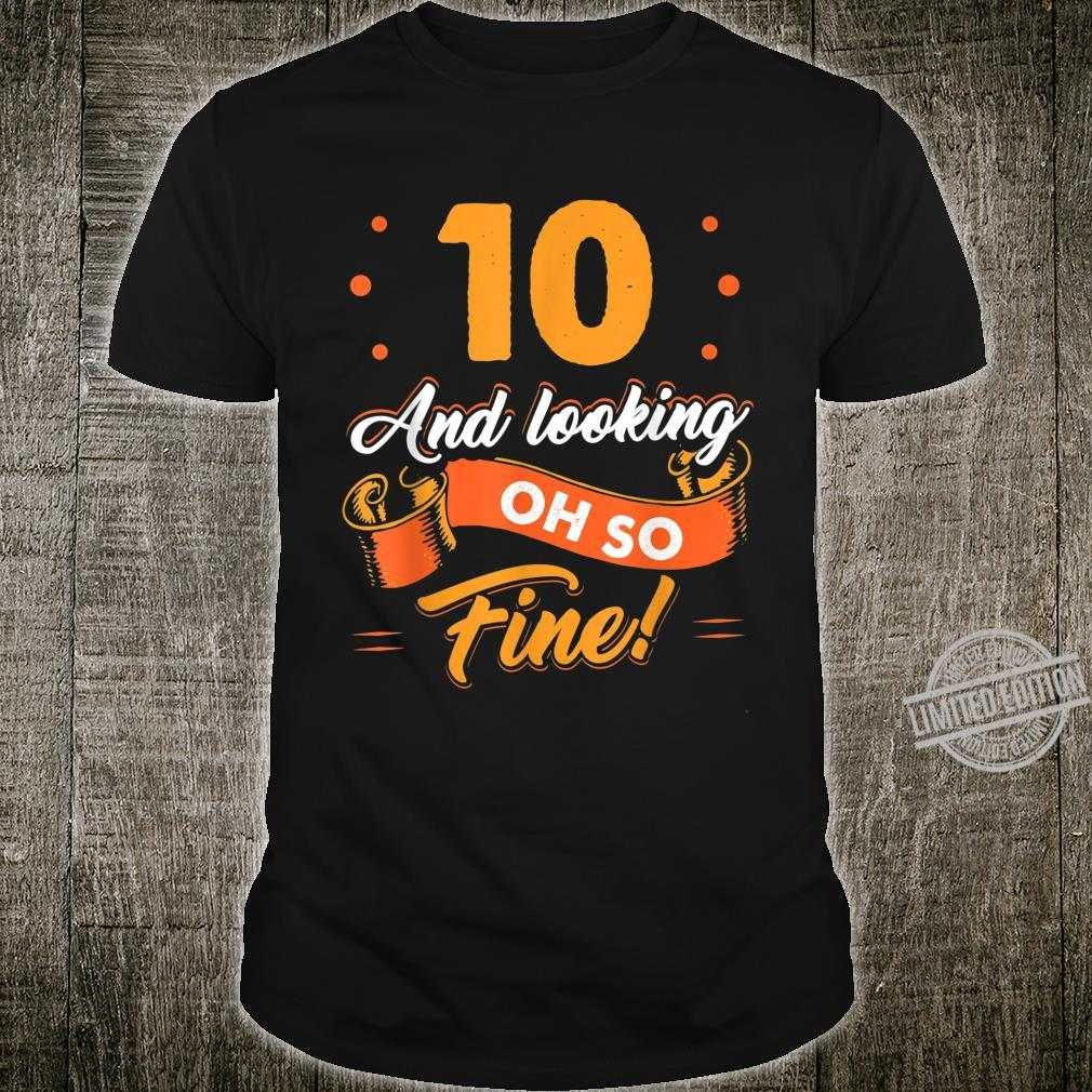 Funny 10th Birthday Shirt Fine Looking 10 Years Old Shirt
