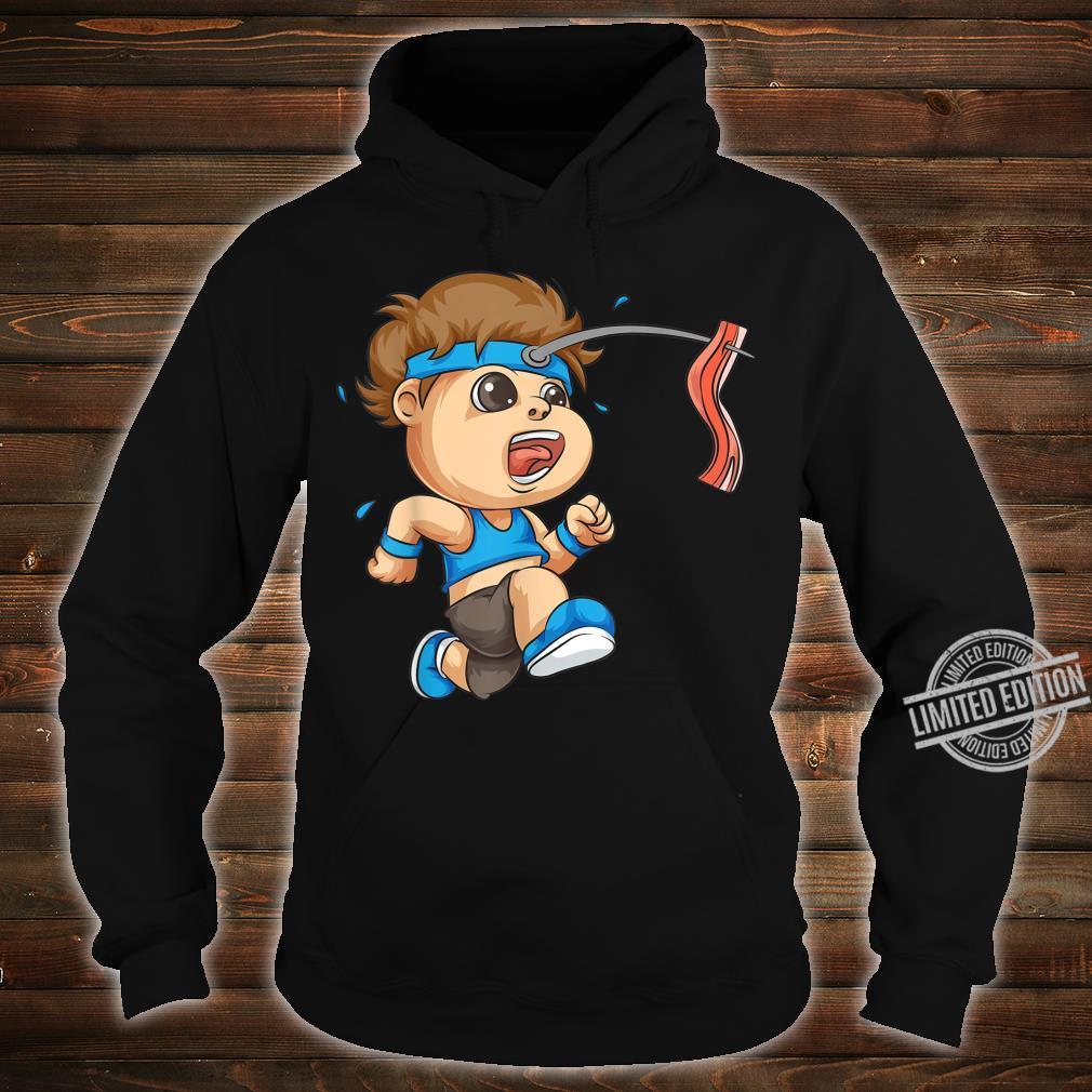 Funny Bacon On Stick Running Boy Cool Sports Runner Shirt hoodie
