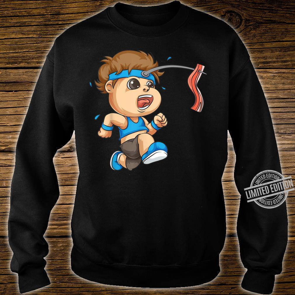 Funny Bacon On Stick Running Boy Cool Sports Runner Shirt sweater