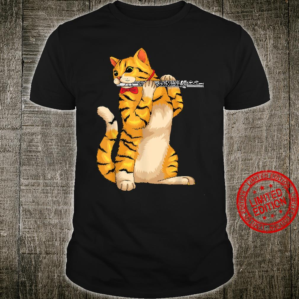 Funny Cat Playing Flute Cool Animal Musician Fluter Shirt