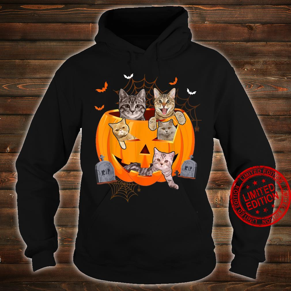 Funny Cats In Carved Pumpkin Matching Halloween Cat Shirt hoodie