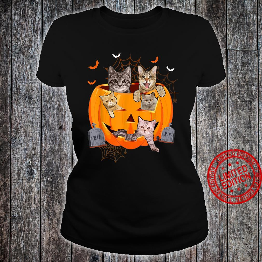 Funny Cats In Carved Pumpkin Matching Halloween Cat Shirt ladies tee
