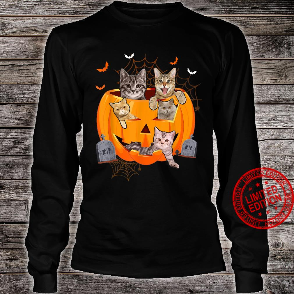 Funny Cats In Carved Pumpkin Matching Halloween Cat Shirt long sleeved