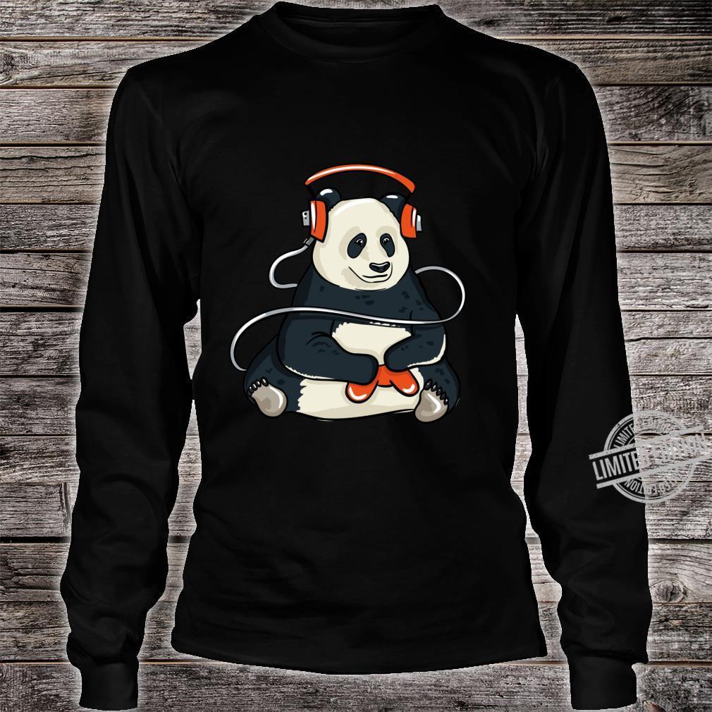Funny Cool Gaming Panda Gift Video Gamer Shirt long sleeved
