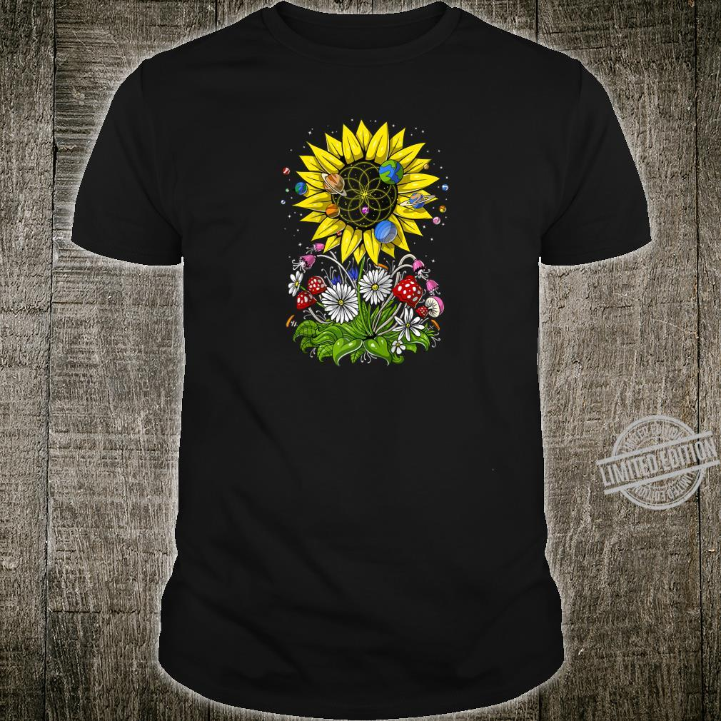 Hippie Sunflower Psychedelic Sacred Geometry Flower Of Life Shirt
