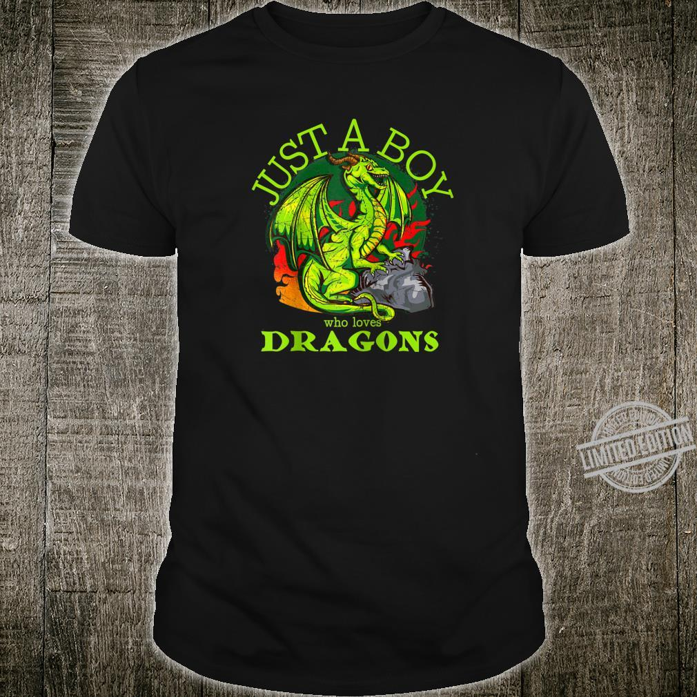 Just A Boy Who Loves Dragons Fantasy Design Shirt