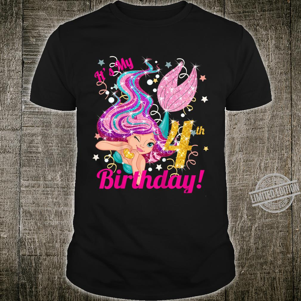 Kids It's My 4th 4 Year Old Birthday Mermaid Party Themed Shirt