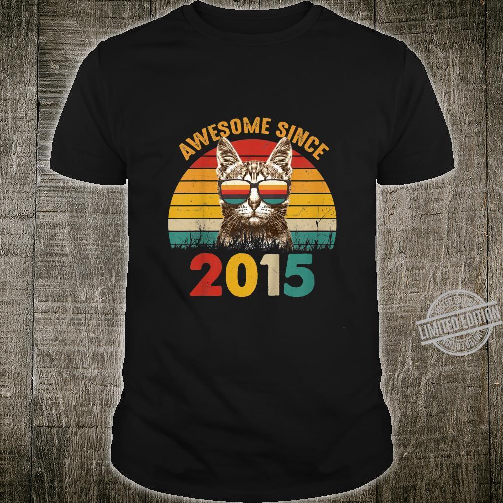 Kinder 5. Geburtstag Vintage Cat Katze Awesome Since 2015 Geschenk Shirt