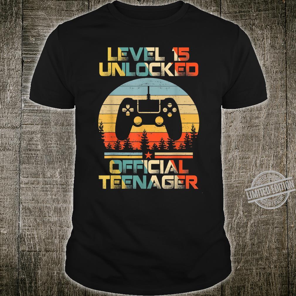 Level 15 Unlocked Officialnager 15th Birthday Gamer Shirt
