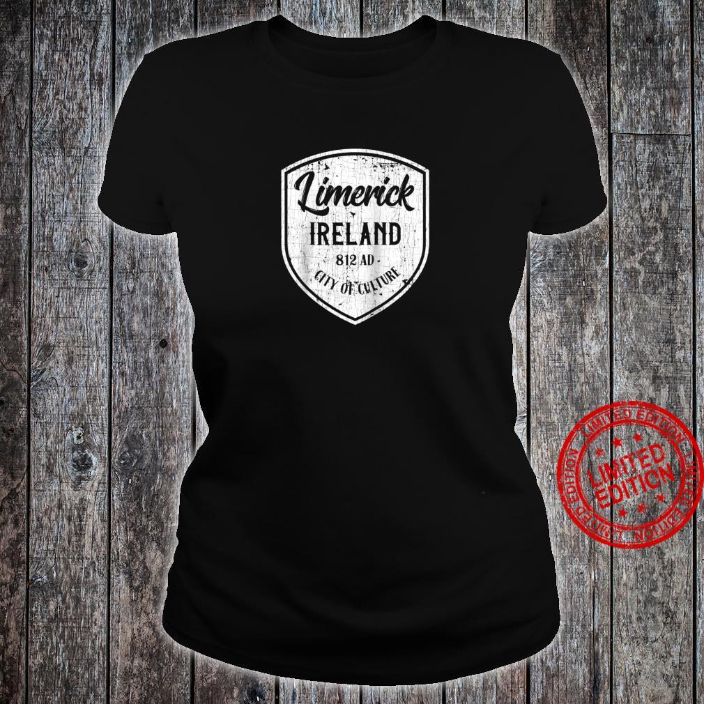 Limerick Ireland Crest Eire Distressed Irish Souvenir Shirt ladies tee