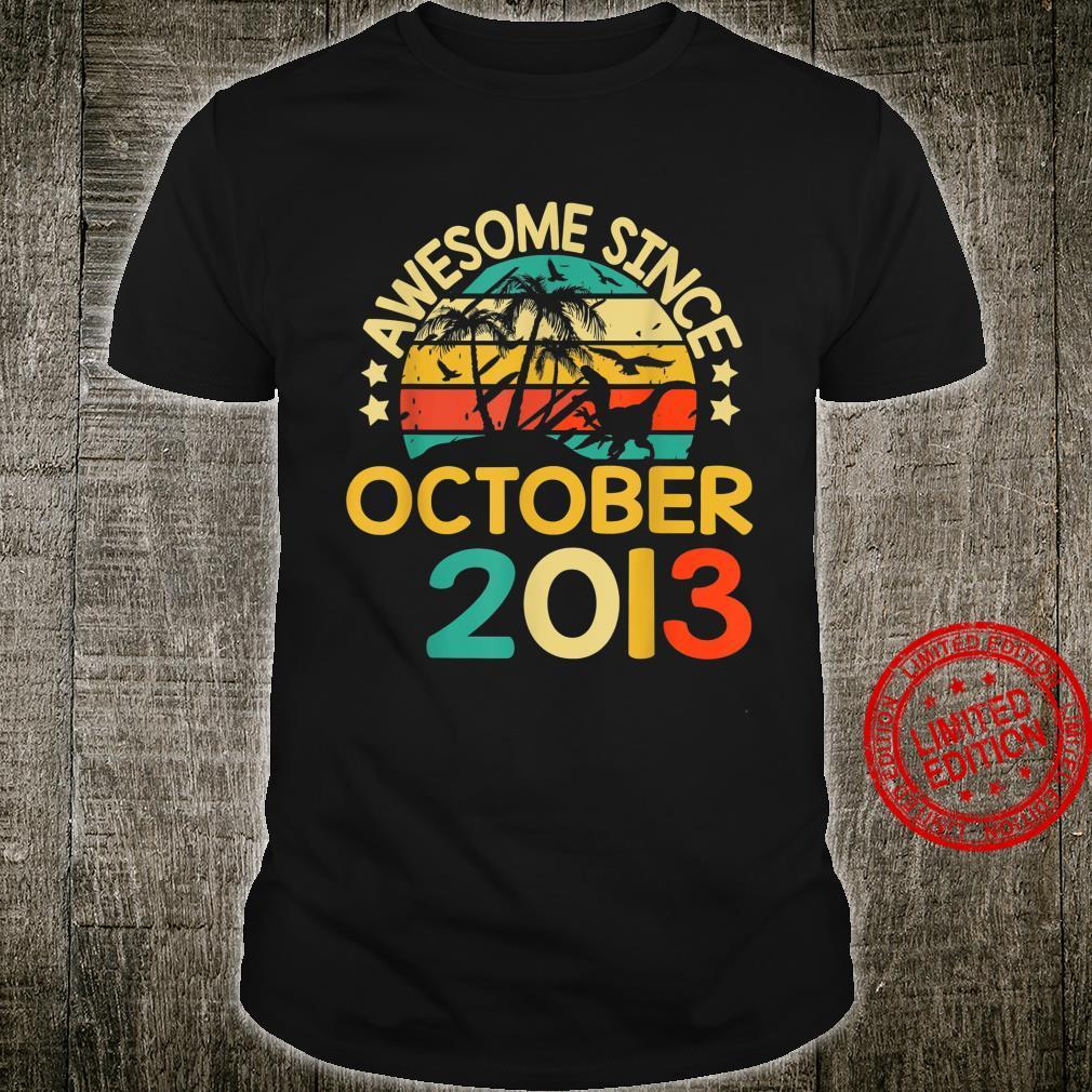 October 2013 7th Birthday Trex Dinosaur Shirt