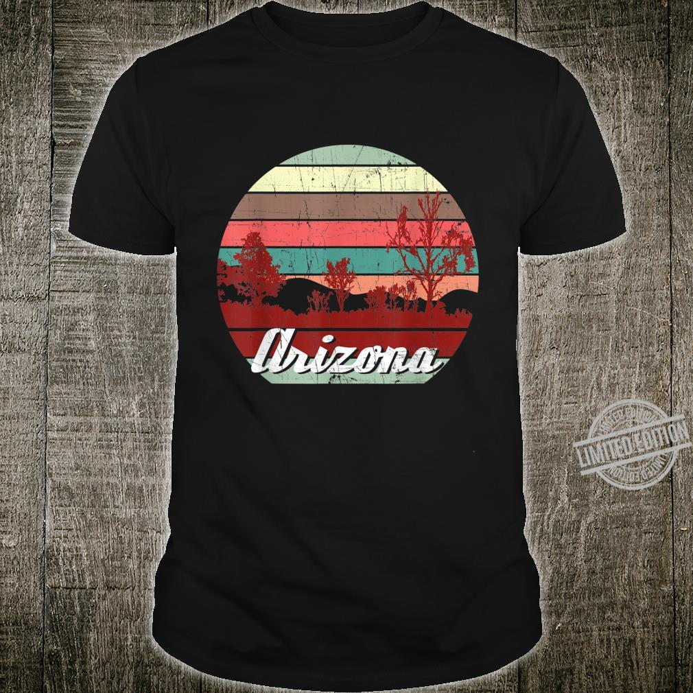 Retro Color Distressed Design Arizona Travel Camping Shirt