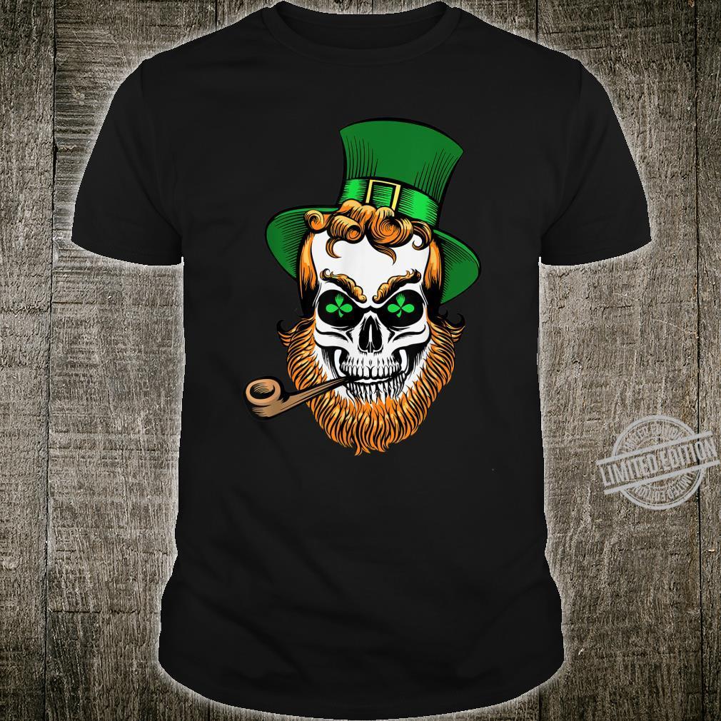 St Patrick's Day Leprechaun Skull With Pipe Shirt