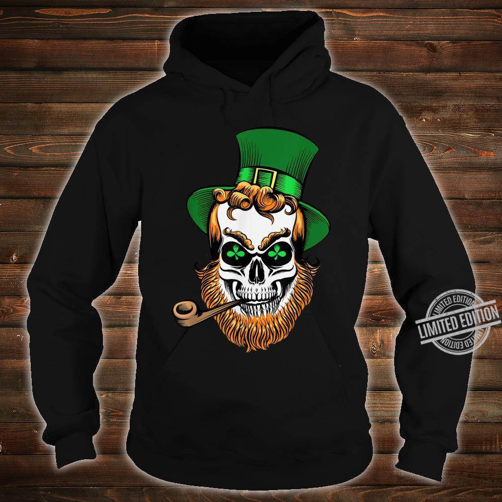 St Patrick's Day Leprechaun Skull With Pipe Shirt hoodie