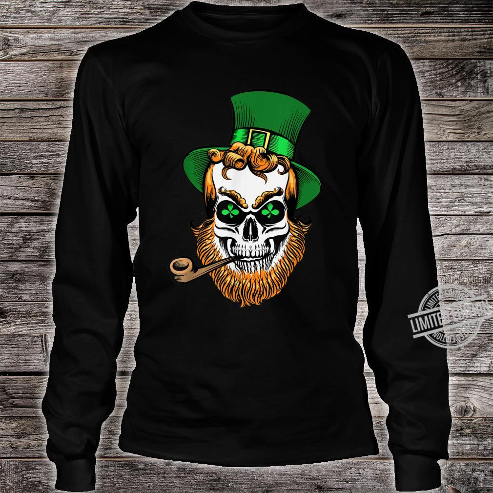 St Patrick's Day Leprechaun Skull With Pipe Shirt long sleeved