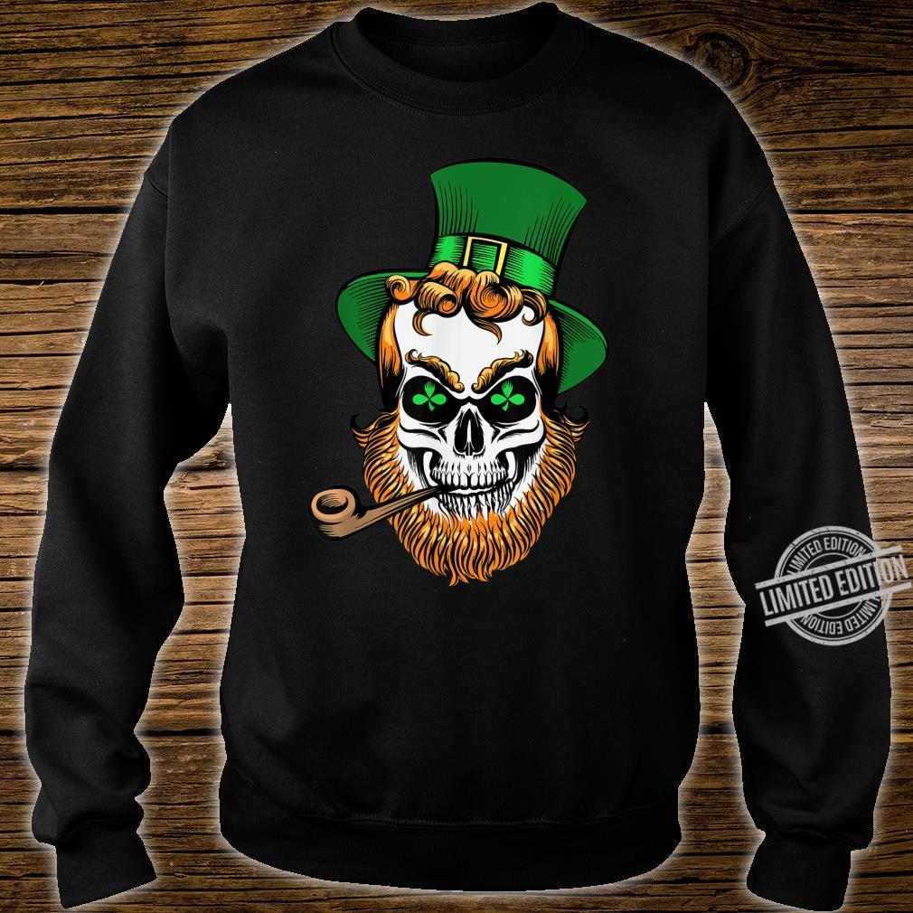St Patrick's Day Leprechaun Skull With Pipe Shirt sweater