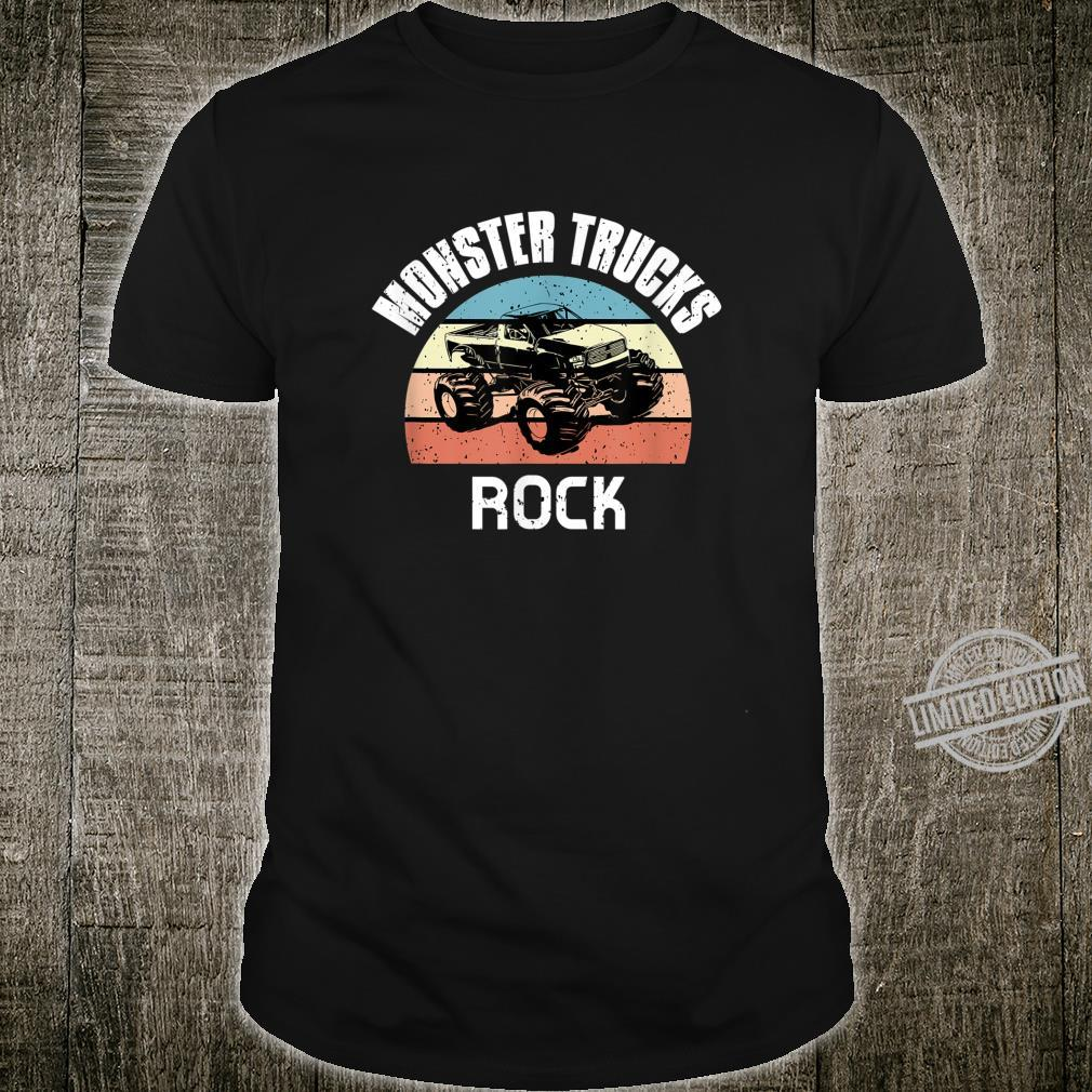 Vintage Monster Trucks Rock Distressed Retro Sunset Shirt