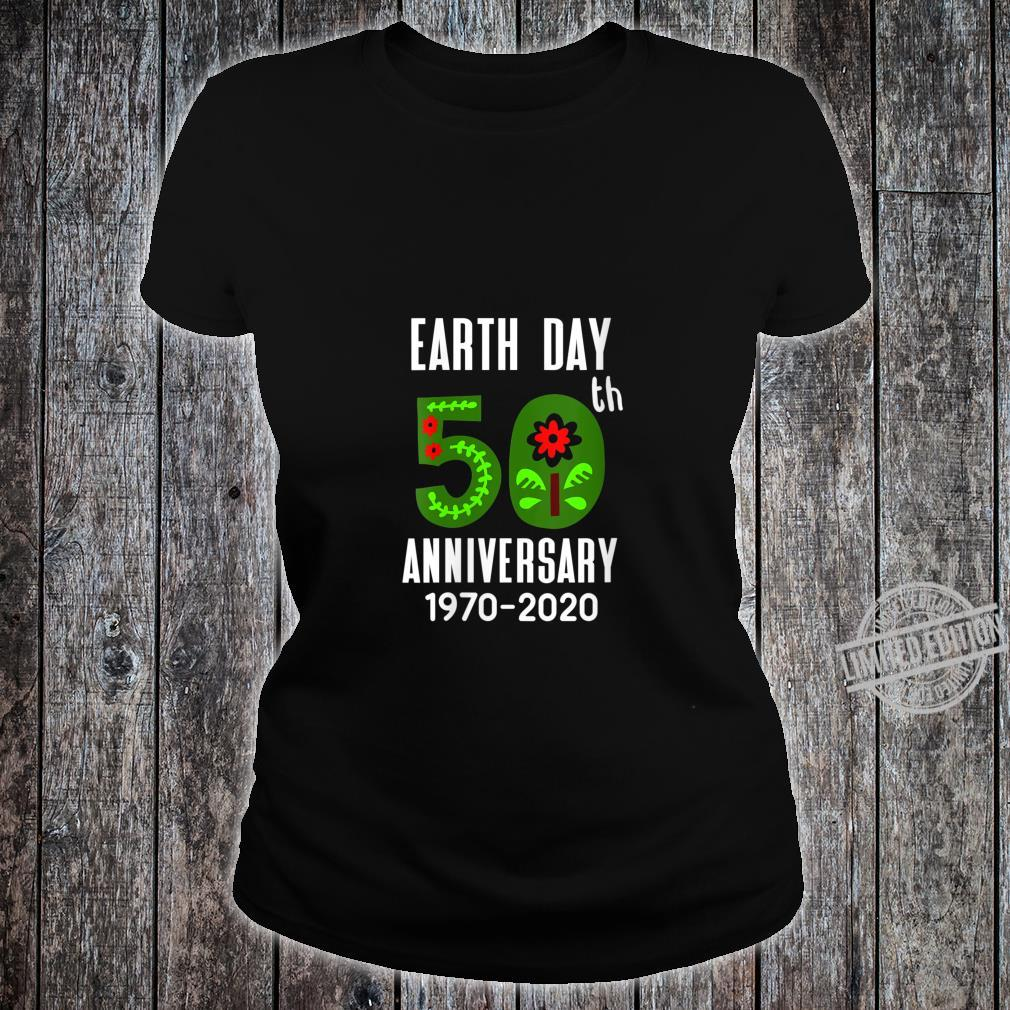 Womens Earth Day 50th Anniversary 2020 with flowers & leaves Shirt ladies tee