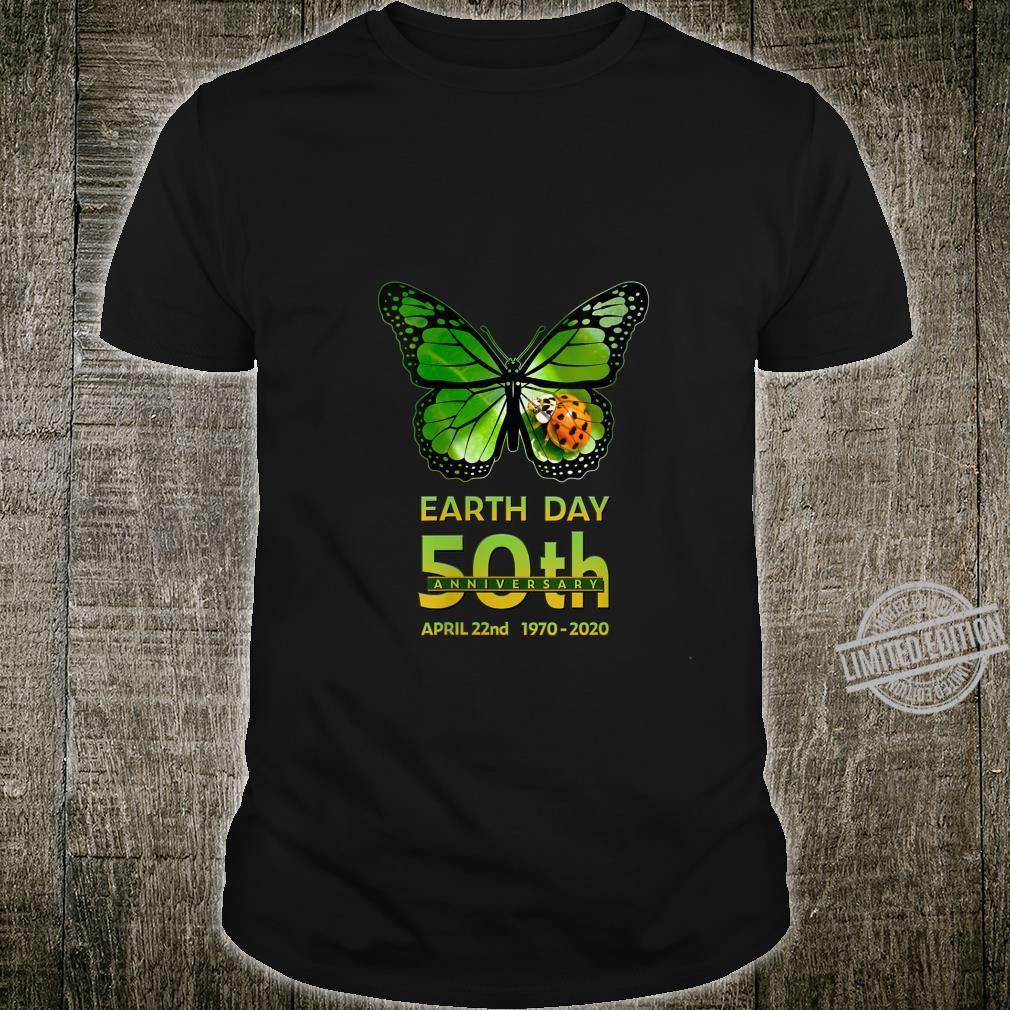 Womens Earth Day 50th Anniversary Butterfly and Ladybug Silhouette Shirt