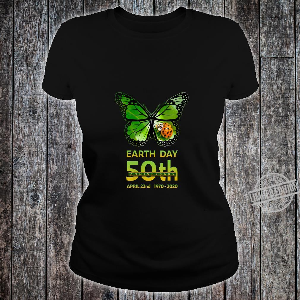 Womens Earth Day 50th Anniversary Butterfly and Ladybug Silhouette Shirt ladies tee
