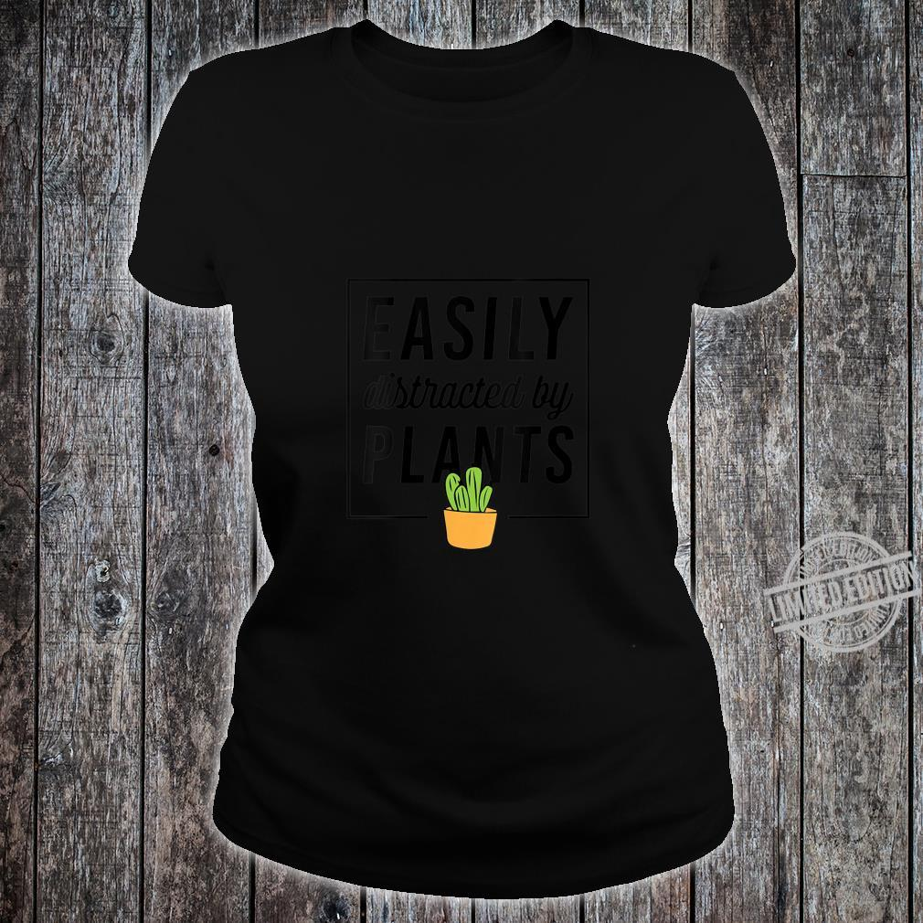 Womens Easily Distracted By Plants Plant Christmas Shirt ladies tee